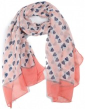 X-C8.1  SCARF507-003D Scarf with Hearts 180x90cm Pink