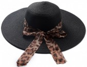 Q-P6.1 HAT504-005D Hat with Animal Print Ribbon Black