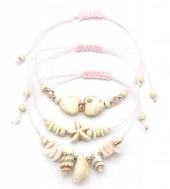 F-E17.1 B2001-052C Bracelet Set 3pcs Shells Pink
