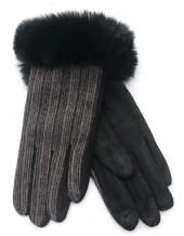 R-N7.1 GLOVE403-069C Gloves Rib Fabric and Faux Fur Black