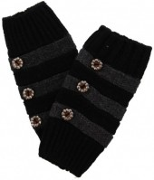 K-A7.2 Striped Hand Warmers with Buttons Black