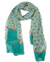 X-D4.2 SCARF507-003E Scarf with Hearts 180x90cm Blue