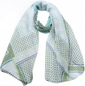 X-H8.2 SCARF507-10A Scarf Dots and Anchors 180x90cm Green
