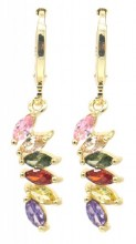 B-C8.2 E516-004 Earrings 1x3cm with Multi Color Cubic Zirconia Gold