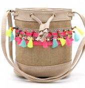 Y-A3.4  BAG216-001 Ibiza Style Bag with Tassels Khaki