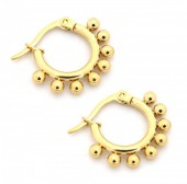 A-C15.3  E1264-004SS Stainless Steel Earrings with Dots 10mm Gold