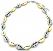 H-A2.1 N2001-006C Short Shell Necklace 40-45cm Silver-Grey