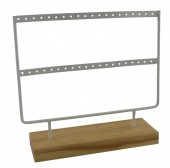 Q-A7.2  PK424-004 Wood with Metal Earring Display White 23x22x7cm