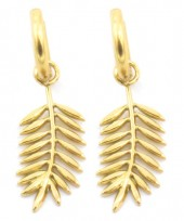 D-C20.5 E2033-011G S. Steel 10mm Earring with 20mm Leaf Gold