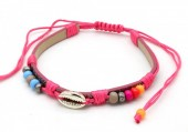 A-G6.2  B221-010 PU Bracelet with Beads and Metal Shell Bright Pink