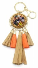 E-E23.1 KY538-001 Bag-Key Chain Rattan with Beads