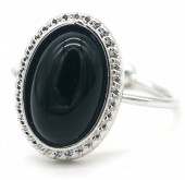 G-D4.2 R532-007 Adjustable Ring with Black Stone silver