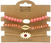 E-E21.2  B538-037 Bracelet Set 3pcs Eye-Shell Pink