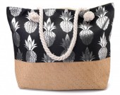 Y-B5.1 BAG217-003 Beach Bag with Wicker and Metallic Pineapple Print 54x40cm Black-Silver