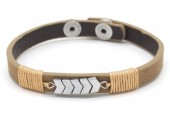 F-A15.1 B1202-167 Leather Bracelet Arrows 19-21cm Brown