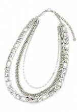 D-C17.6 N001-009 Layered Metal Chain Necklace Silver