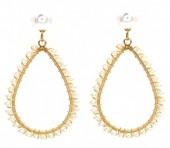 A-D1.2 E1631-003A Earrings Pearls 4.5x2.5cm Gold