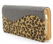 R-K4.1  WA117-003 PU Wallet with Leopard Print 19x10cm Grey