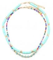 E-B15.2 N536-092B Necklace Set 2pcs Multi Color-Blue