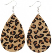 E-C6.3  E006-003 Leather Earrings with Animal Print 7x4 cm Brown-Silver