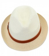 HAT210-006 Fedora Hat with PU Strap Light Brown-White