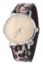 E-C5.7 W1202-002 PU Watch with Panter Print Pink