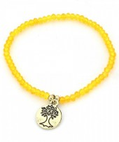 B-A8.2 B130-017 Elastic Bracelet with Tree of Life and Glass Beads Ocher Yellow