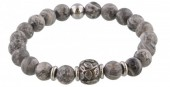 A-B17.4  S. Steel Bracelet with Semi Precious Stones Grey