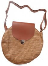 Y-D2.2 BAG541-001A Woven Straw Bag with PU 30x9cm Brown