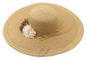 Y-E1.5  HAT504-033B Summer Hat with Flowers Brown