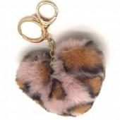 F-E20.2  KY414-001G Fluffy Keychain Heart Leopard Pink