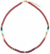 E-C16.3 N1941-001C Surf Necklace with Semi Precious Stones Bordeaux- Multi