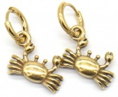 A-C18.3 E007-012G S. Steel 10mm Earring with 16mm Crab Gold