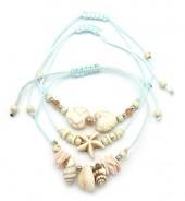 F-E15.1 B2001-052B Bracelet Set 3pcs Shells Blue
