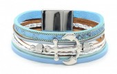B218-002 Leather Bracelet with Anchor Blue