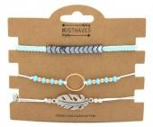 F-C18.2  B316-003 Bracelet Set 3pcs Feather-Circle Blue