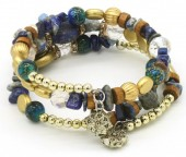 B102-002 Wrap Bracelet with Real Stones Gold-Blue