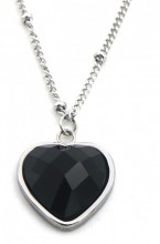 B-C3.3 N1934-009 Stainless Steel Necklace with 20mm Heart with Black Onyx Silver