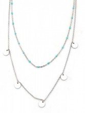 F-D6.1  N317-006 Layered Stainless Steel Necklace Beads and Coins