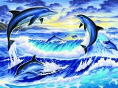 R-O3.1  S180 Diamond Painting Set Dolphins 50x40cm