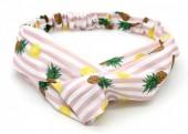 S-K7.1  H040-001 Headband with Stripes-Pineapples-Lemons Pink-White