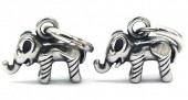 A-D18.3 E007-008 S. Steel 10mm Earring with 17mm Elephant Silver