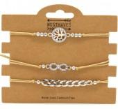 F-D22.1  B316-045 Bracelet Set 3pcs Tree of Life - Infinity - Chain Brown