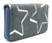 S-K4.1 WA117-007 PU Wallet with Silver Stars 19x10cm Grey