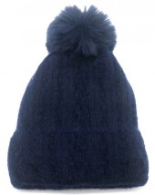 T-O2.2 HAT005-014D Beanie with Pompon Blue