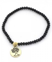 B-A5.3 B130-017 Elastic Bracelet with Tree of Life and Glass Beads Black