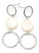B-B19.2 E304-036 Earrings with Pearl 4x2cm Silver