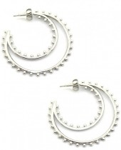 A-D9.2 E2033-013S S. Steel Earrings 4cm with Dots Silver