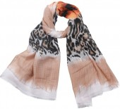 X-L3.2 SCARF510-001C Scarf with Animal Print 180x90cm Brown