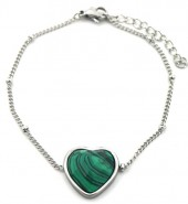 B-F20.5 B1934-009 Stainless Steel Bracelet with 20mm Heart with Malachite Silver